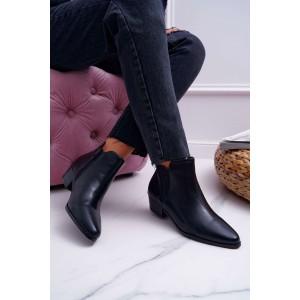 Čierne kotníkové topánky na zimu s bočnou gumou a zipsom