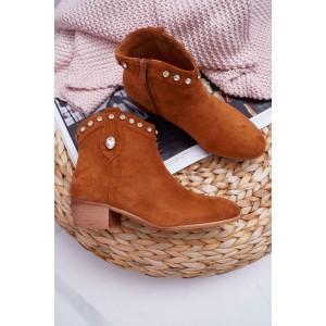 Originálne dámske členkové topánky v hnedej camel farbe s kamienkami