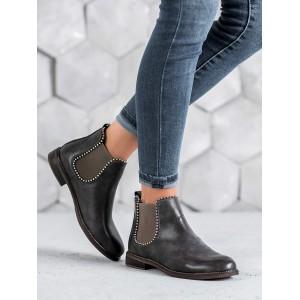 Dámske sivo hnedé zimné nasúvacie kotníkové topánky s bočnou gumou
