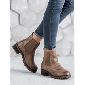 Hnedé dámske kotníkové topánky s bočnou gumou a hrubou podrážkou