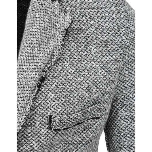 Štýlové pánske sivé sako ležerného strihu s trendy prešívaním