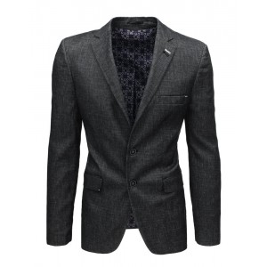 Tmavo sivé ležérne pánske sako s ozdobnými gombíkmi na rukávoch