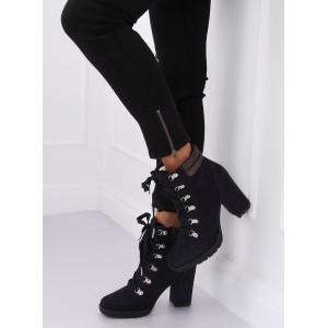 Štýlové modré dámske kotníkové topánky s trendy šnurovaním