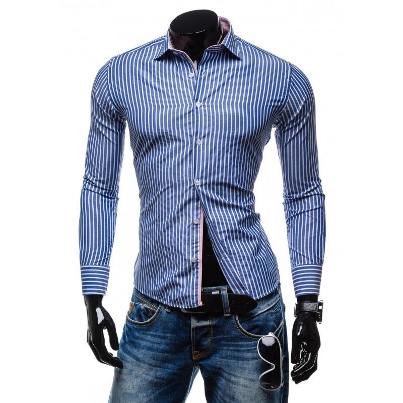 78336cacd Pánska košeľa s dlhým rukávom bielo-modrej rarby s pásikmi ...