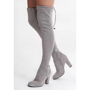 Vysoké dámske čižmy nad kolená v sivej farbe