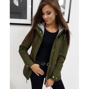 Moderná zelená dámska prechodná bunda parka s kapucňou