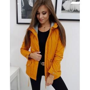 Krásna oranžovo žltá jesenná prechodná dámska bunda s kapucňou