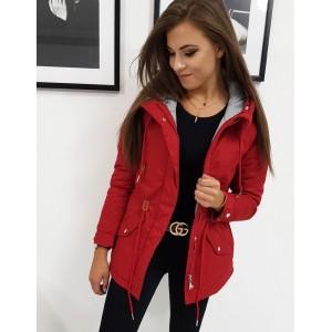 Originálna dámska červená bunda parka so sivou podšívkou a kapucňou