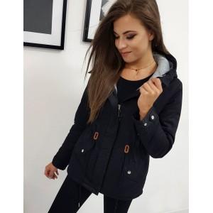Trendy dámska čierna prechodná bunda so sťahovaním v páse