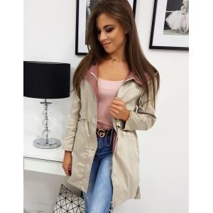 Štýlová dámska béžová prechodná bunda s top designom a kapucňou