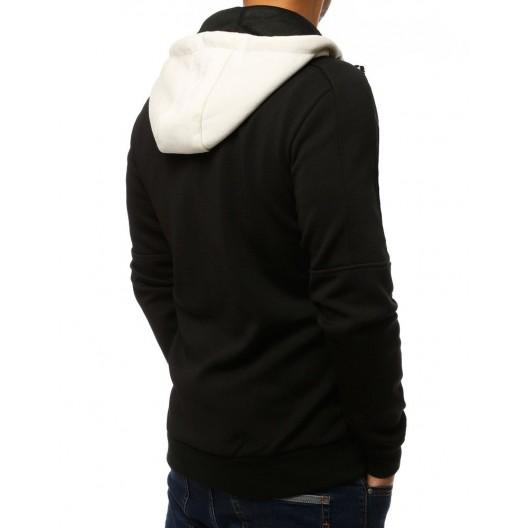 Moderná pánska čierno biela mikina na zips