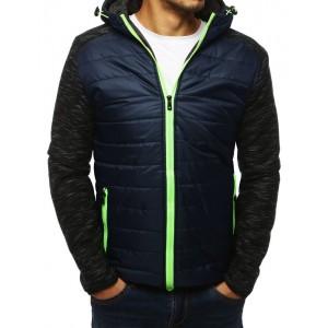 Štýlová bunda na jeseň s výrazným zeleným zipsom a kapucňou