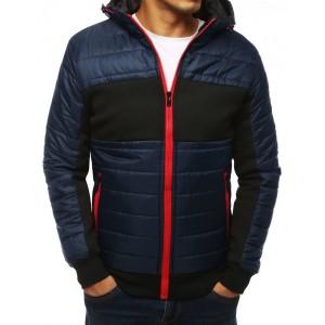 Tmavo modrá jesenná bunda s kapucňou pre pánov