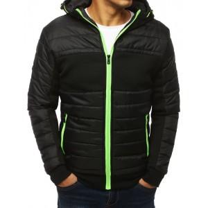 Čierna prechodná bunda s kapucňou na zips