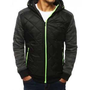 Kvalitná čierna bunda na jeseň s kapucňou