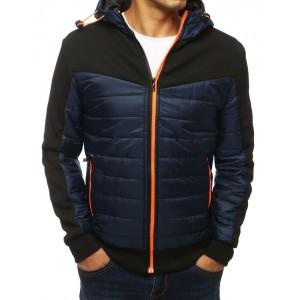 Tmavomodrá prešívaná bunda na zips s kapucňou