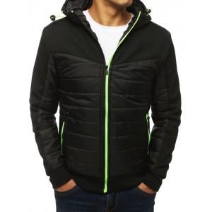 Originálna čierna bunda pre pánov s kapucňou