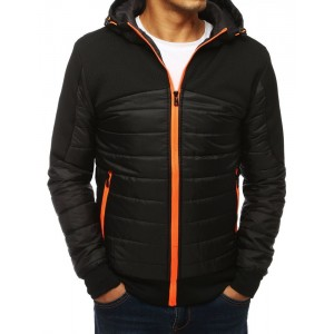 Čierna pánska bunda s výrazným zipsom oranžovej farby