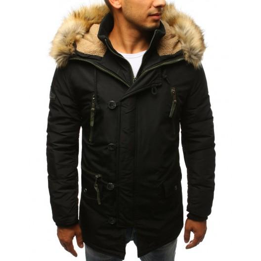 Pánska zimná bunda s kapucňou so zapínaním na zips a gombíky