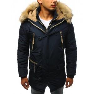 Tmavo modrá pánska bunda s odnímateľnou kožušinou pre pánov