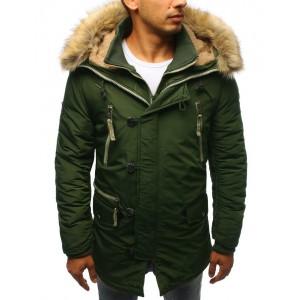 Dlhá pánska zimná bunda s kapucňou a kožušinou zelenej farby