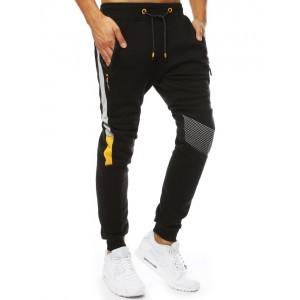 Štýlové čierne pánske tepláky s bočnými vreckami na zips