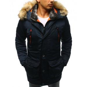 Dlhá tmavo modrá bunda na zimu pre pánov