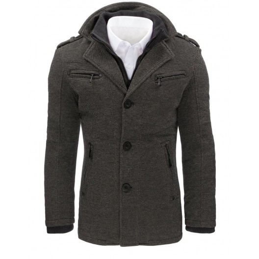Pánsky kabát s vreckami na zips a zapínaním na gombíky