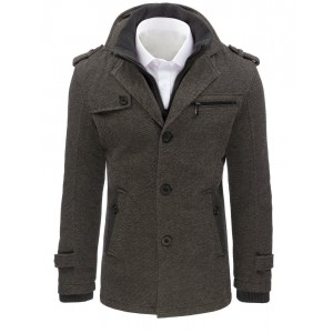 Pánsky kabát so zapínaním na gombíky v sivej farbe