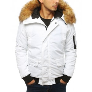Biela pánska zimná bunda s kapucňou a hustou kožušinou