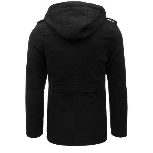 Moderný pánsky kabát s kapucňou v čiernej farbe