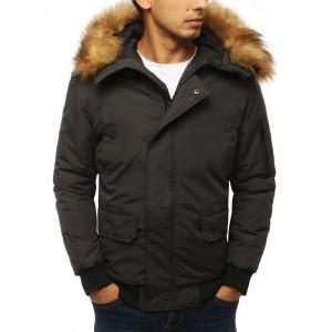 Tmavo sivá pánska bunda na zimu s odnímateľnou kožušinou