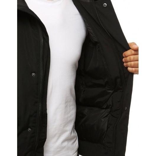 Pánska zimná bunda s kapucňou a kožušinou v čiernej farbe