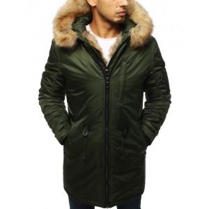Trendová dlhá zimná bunda pre pánov v zelenej farbe