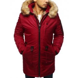 Luxusná pánska zimná bunda červenej farby s odnímateľnou kapucňou