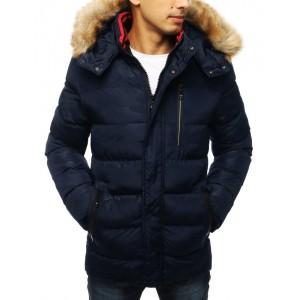 Pánska prešívaná bunda na zimu tmavo modrej farby