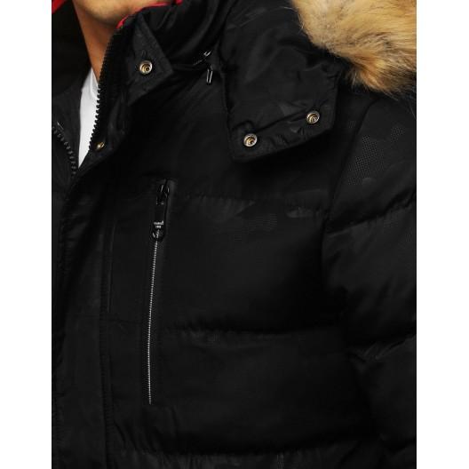 Pánska zimná bunda čiernej farby s kožušinou