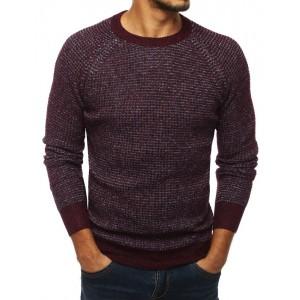 Bordový pánsky sveter s okrúhlym výstrihom
