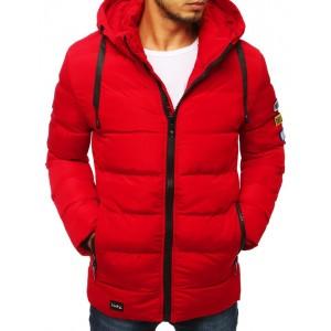 Červená pánska prešívaná bunda na zimu s kapucňou