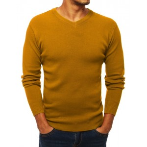 Elegantný pánsky sveter v horčicovej farbe