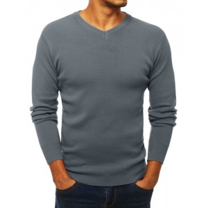 Sivý pánsky sveter s véčkovým výstrihom