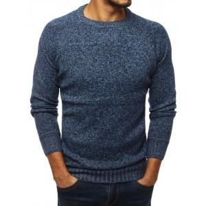 Štýlový modrý sveter na bežné nosenie