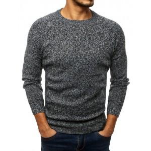 Sivý sveter pre mužov s okrúhlym výstrihom