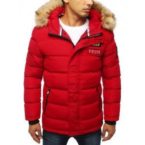 Pánska prešívaná zimná bunda s kapucňou červenej farby