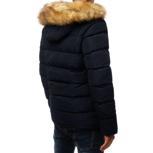 Moderná pánska zimná bunda tmavo modrej farby