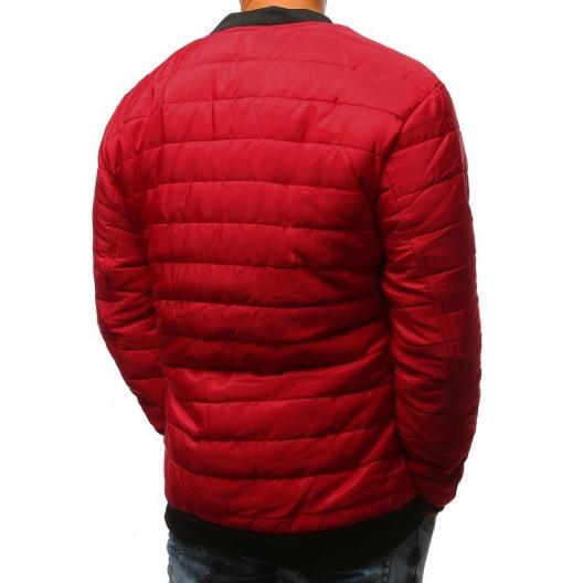 Prešívaná pánska bomber bunda v červenej farbe
