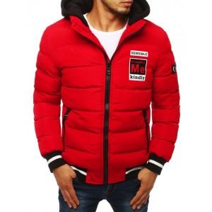 Prešívaná pánska bunda na zimu červenej farby