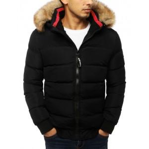 Čierna zimná bunda s odnímateľnou kapucňou a kožušinou pre pánov
