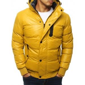 Moderná žltá prešívaná bunda na zimu s kapucňou