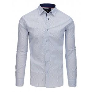 Spoločenská biela pánska košeľa s jemným modrým vzorom